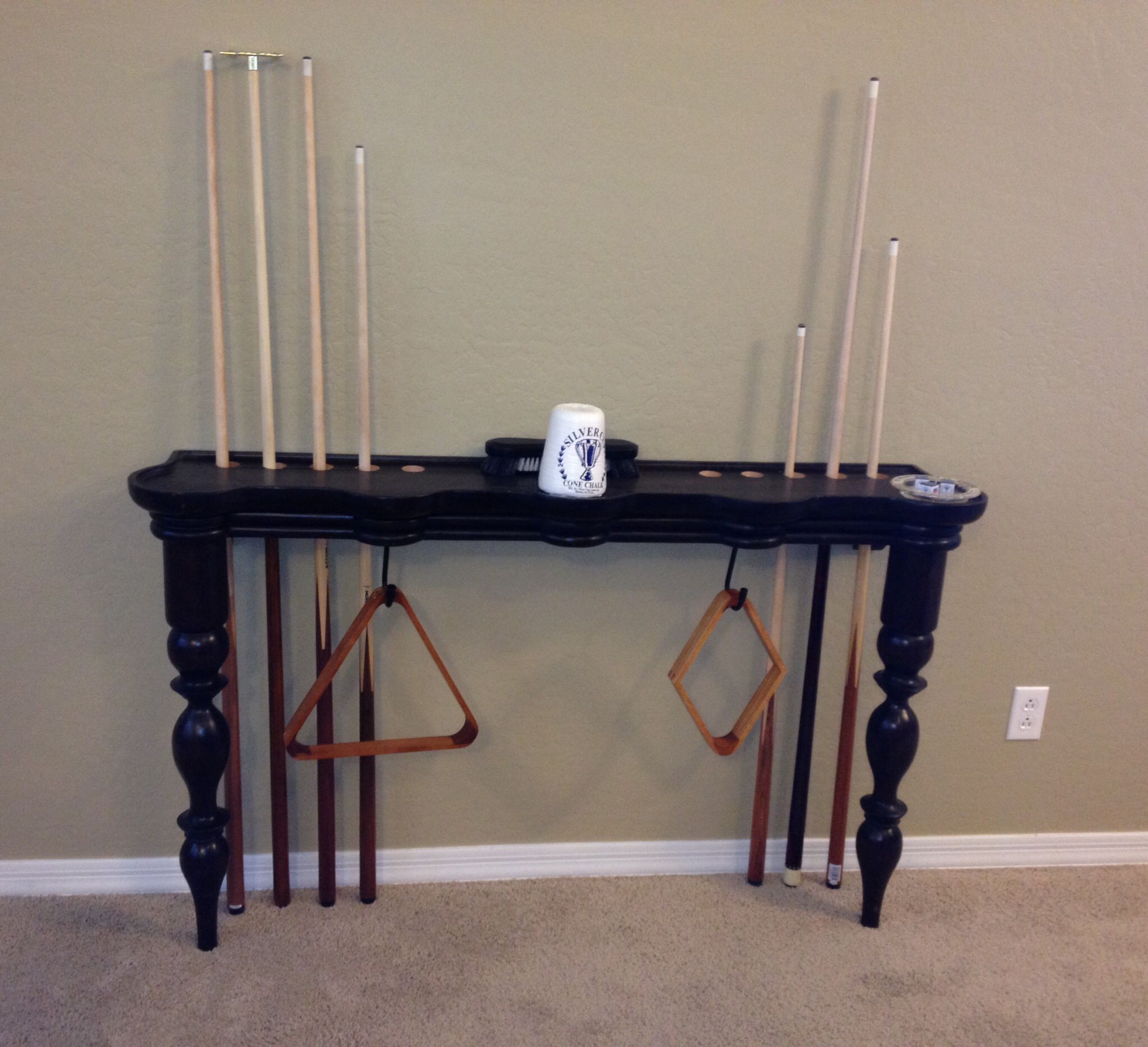 Pool cue stick holder made from modified sofa table ...