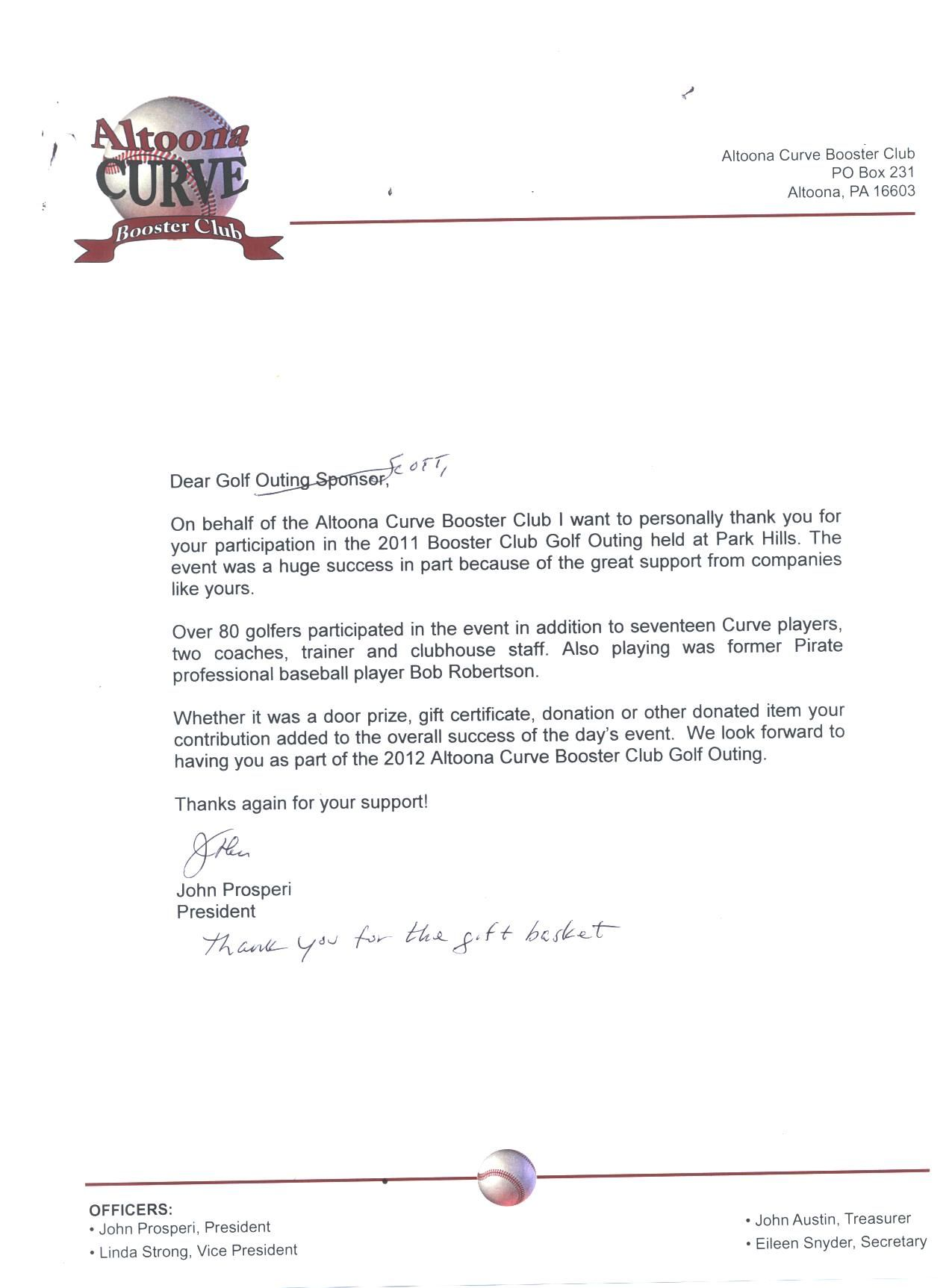 Thank You Letter For Our Participation The Altoona Curve Charity