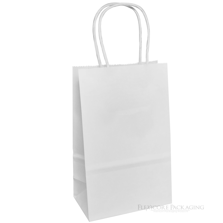 White Kraft Paper Bags 5 25 X3 5 X8 25 25ct Walmart Com Kraft Bag Paper Bag Paper Shopping Bag