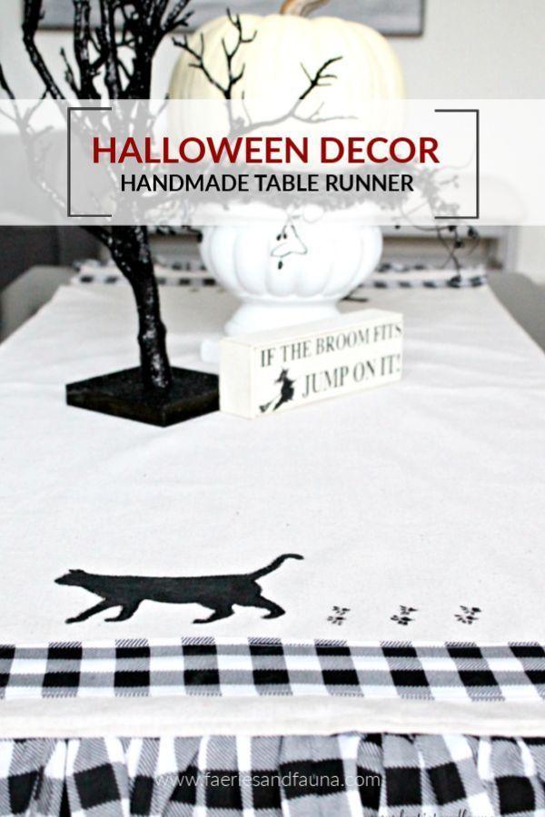 Homemade Halloween Decoration - A Black Cat Table Runner Halloween