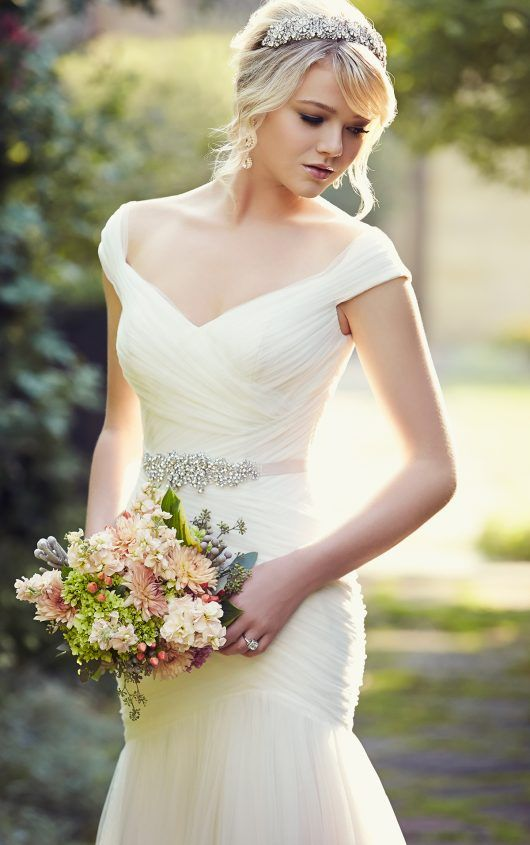 Simply sophisticated wedding dress with cap sleeves from Essense of ...