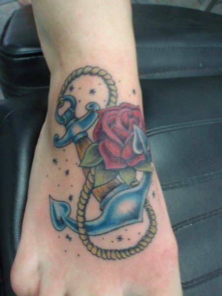 yellow rose anchor tattoos | Anchor and Rose | Haight ashbury tattoo and piercing [main]