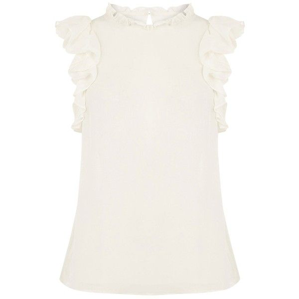 Oasis Ruffle Sleeveless Shell Top, Off White ($22) ❤ liked on Polyvore featuring tops, off white tops, round neck top, sleeveless ruffle top, flounce top and ruffle top