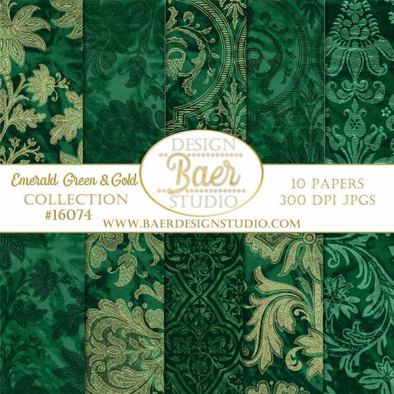 Emerald Green And Gold Digital Paper Damask By BaerDesignStudio