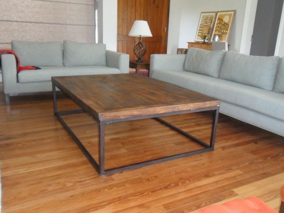 2200 mesa hierro y madera mesas pinterest mesas industrial and tables - Mesa centro madera y hierro ...