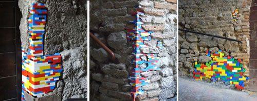 Italiassa vanhojen rakennuksien seiniä korjataan legopalikoilla