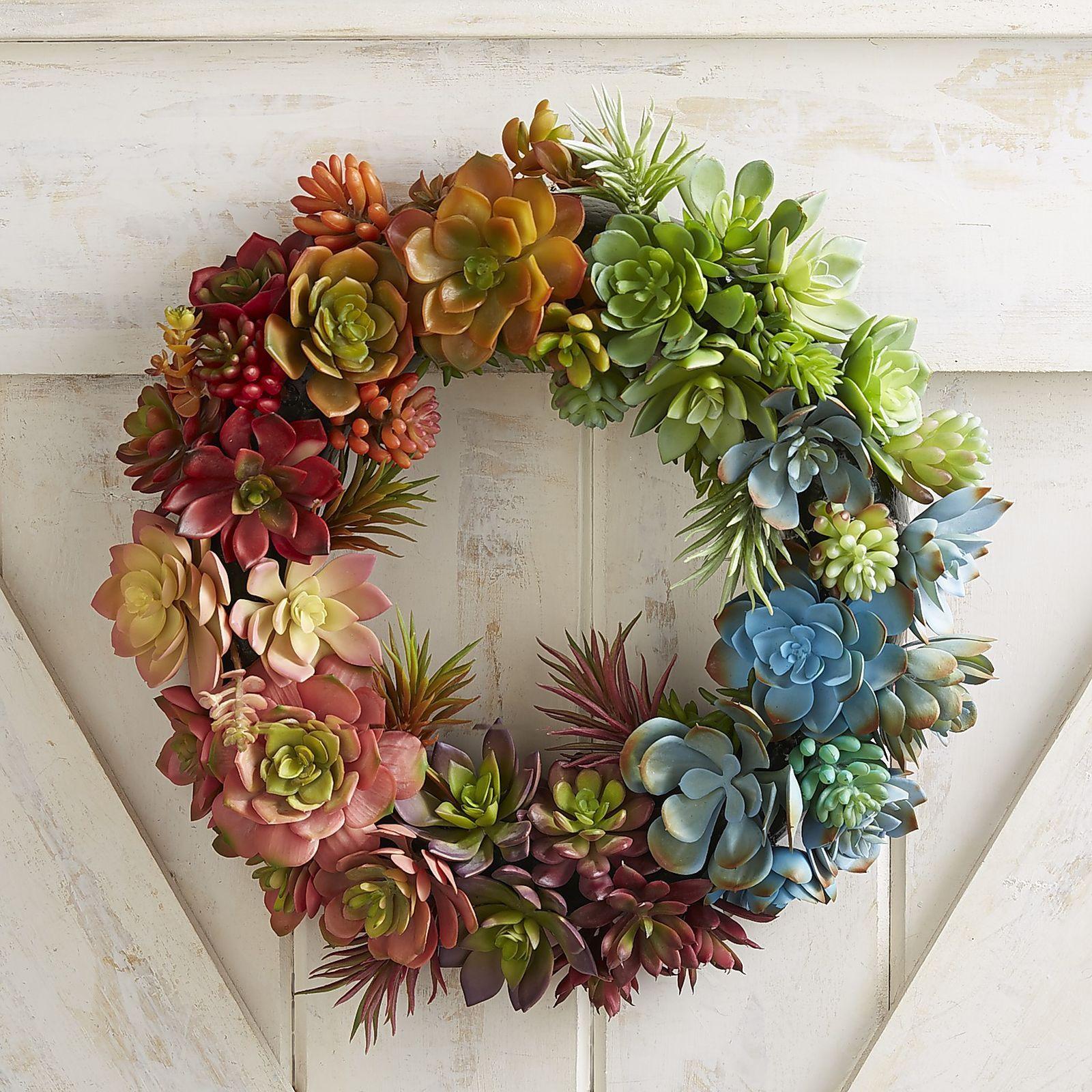 """Faux Rainbow Succulent 15.5"""" Wreath Pier 1 Imports"""