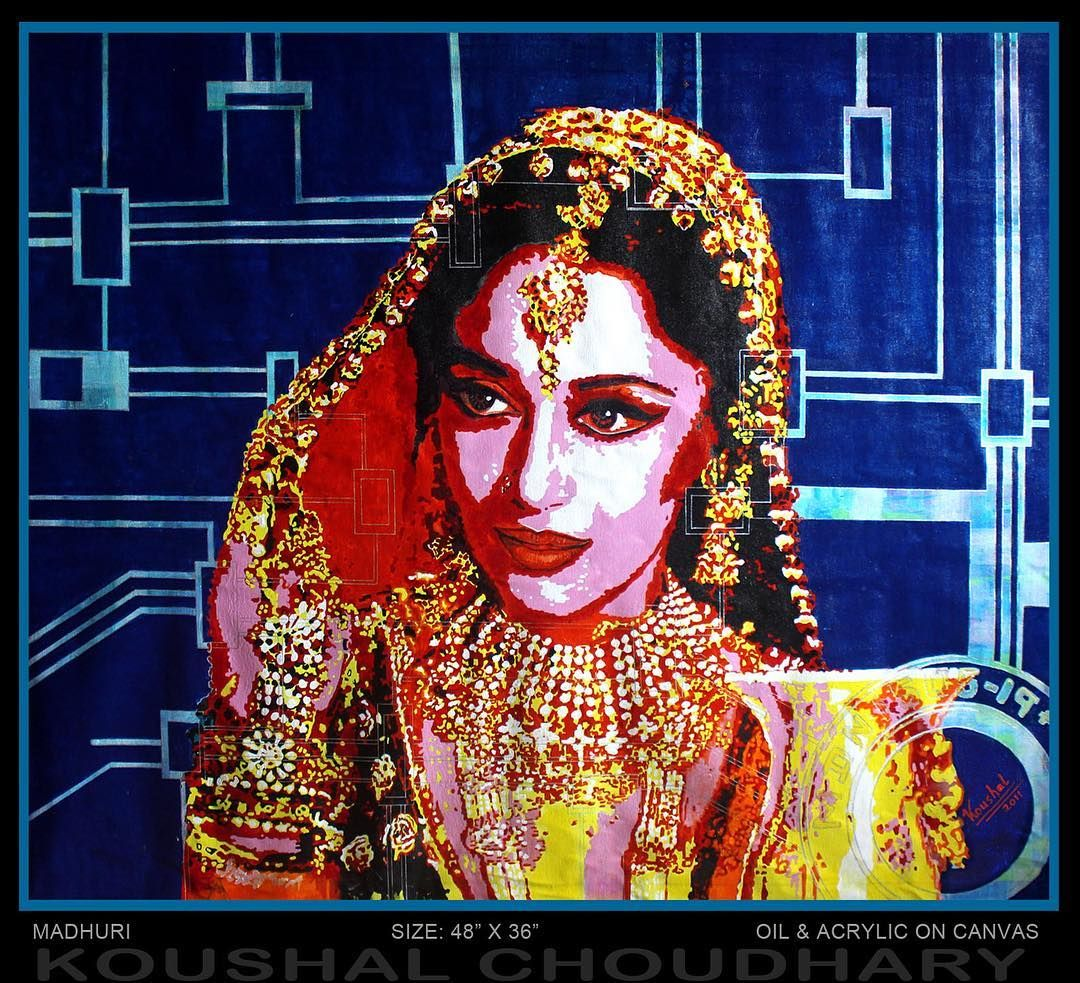 @madhuridixitnene #fanart Oil and acrylic on canvas  #artwork by @koushal_choudhary #bollywood #actress #madhuridixit #art #painting #artist #beautiful #bollywood #madhuridixit #madhuridixitnene #bollywoodfans #actress #dancer #artistofthemonth price on request