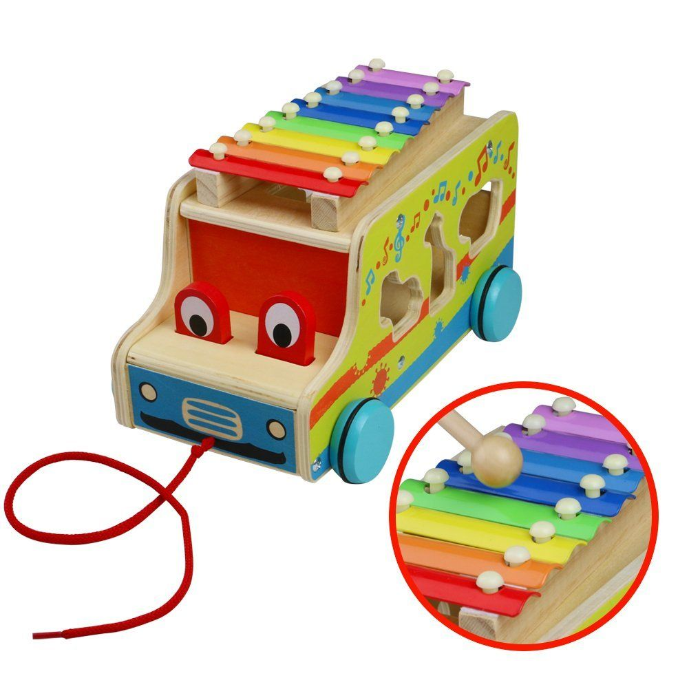 Xylophone Car Pull Along Truck Toy Knock Piano Music Toy