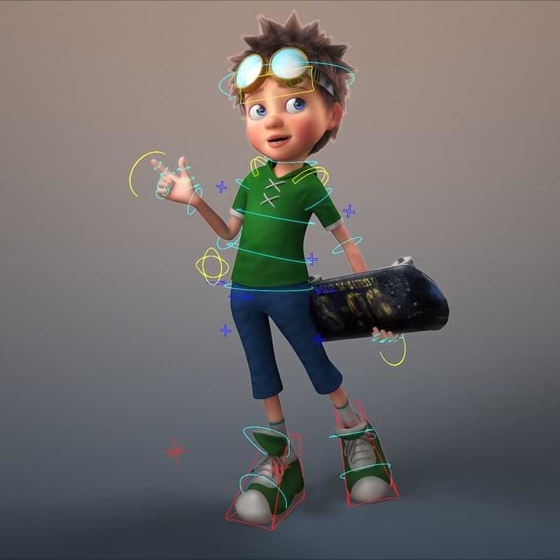 cartoon boy rigged 3D model | 3D Characters in 2019 | 3d model