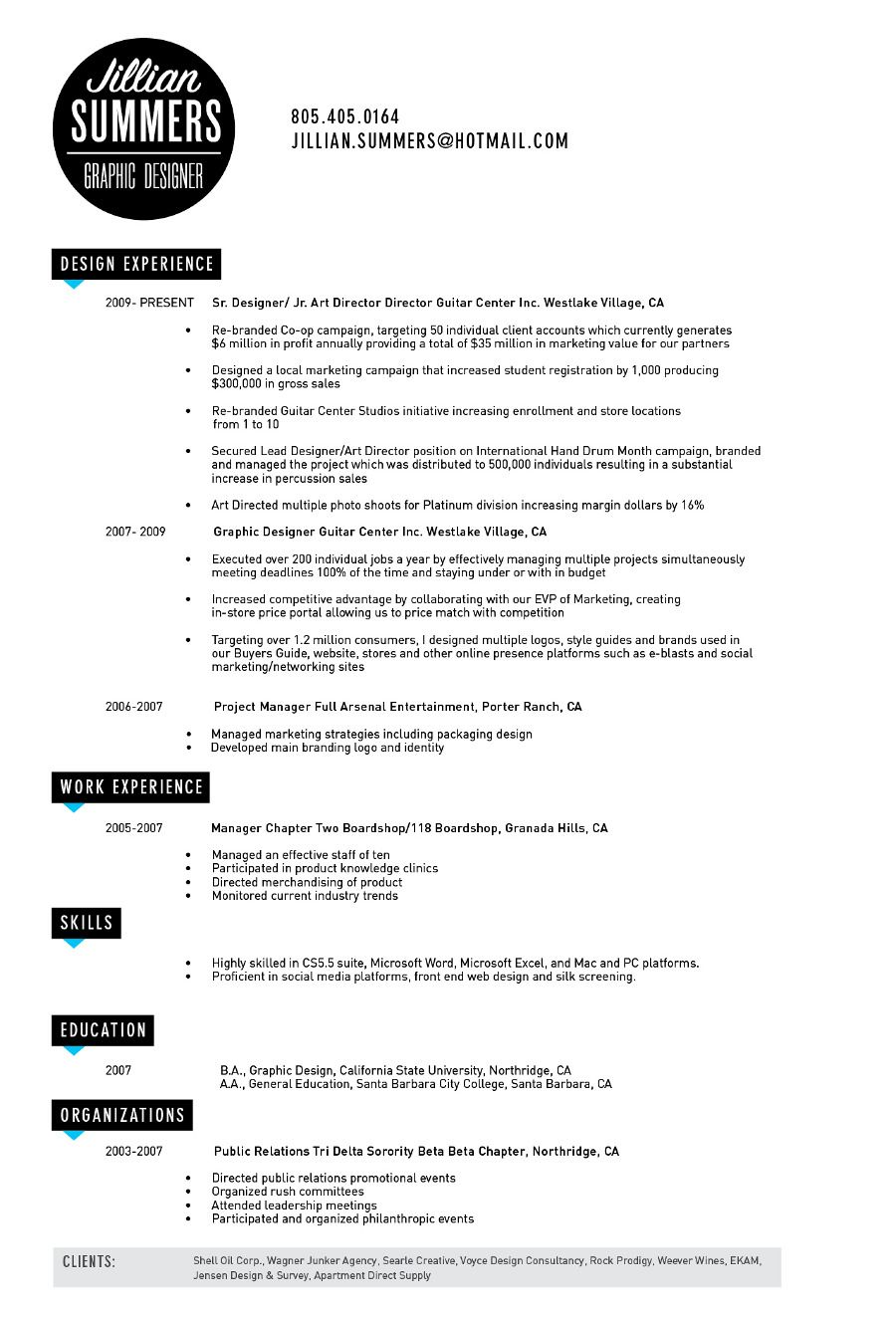 Resume  Portfolio Inspirations    Graphic Design