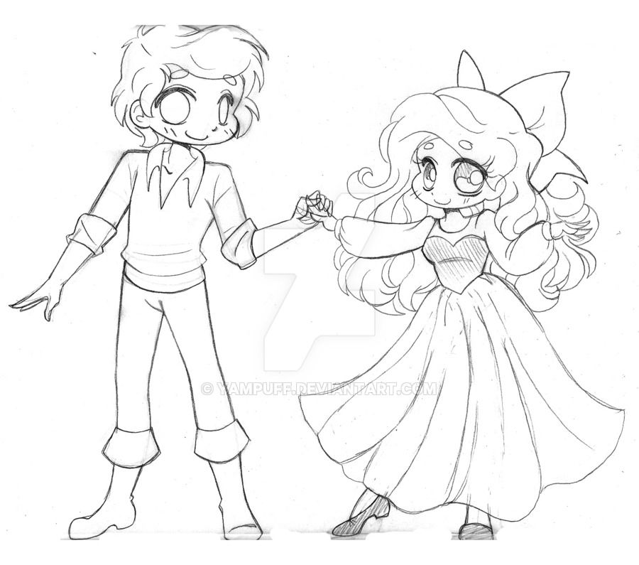 Ariel and Eric ::Commission - Sketch:: by YamPuff on DeviantArt ...