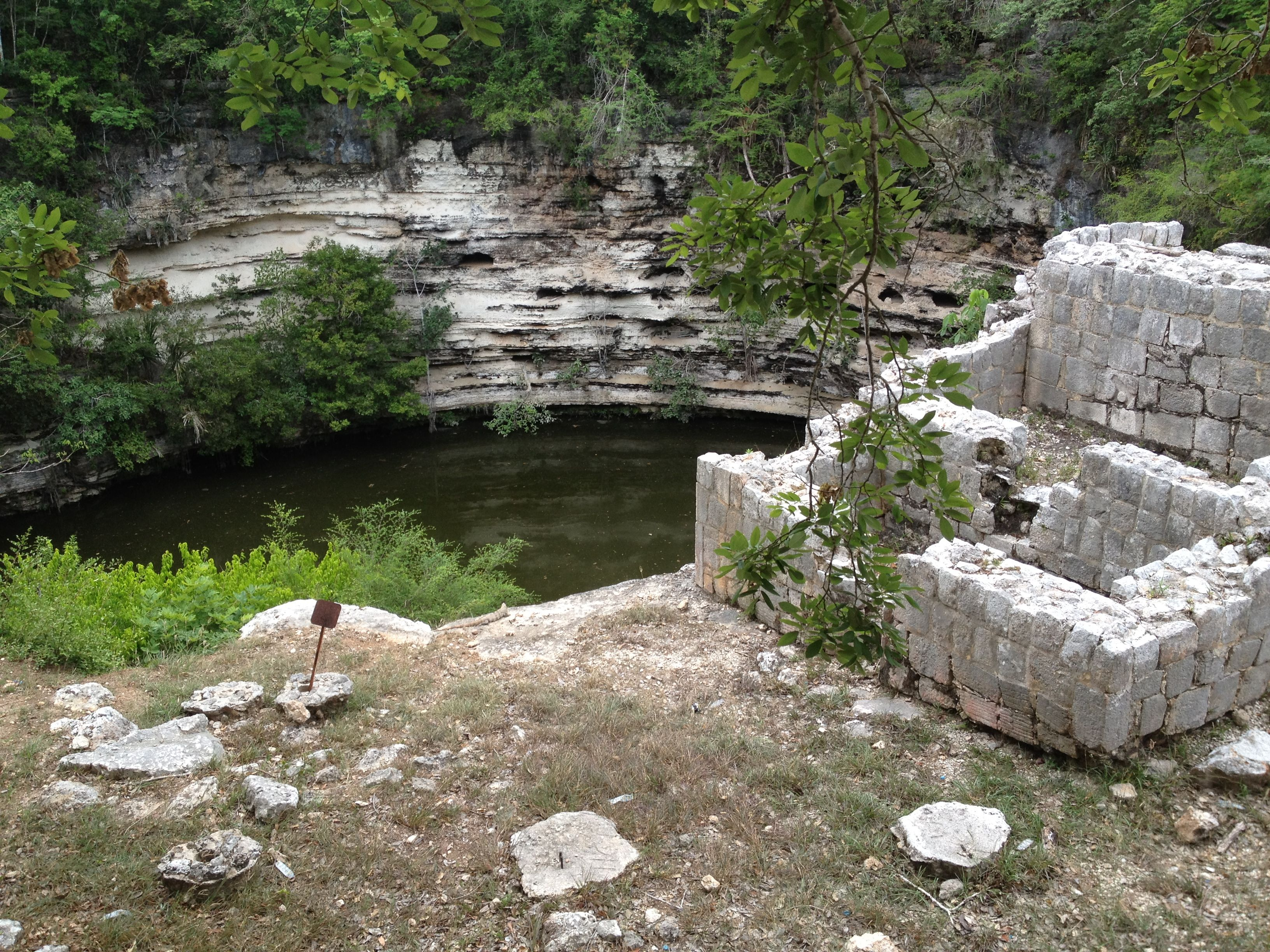 Sacrificial Pool, Chichen Itza, Mexico Young girls were thrown in as sacrifice and it's also said that the bodies of the beheaded athletes were also thrown into the pool and the skulls buried in a special graveyard.
