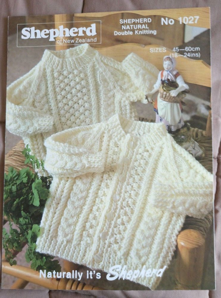 Baby Cable Sweater & Cardigan vintage knitting pattern DK 8 ply yarn ...