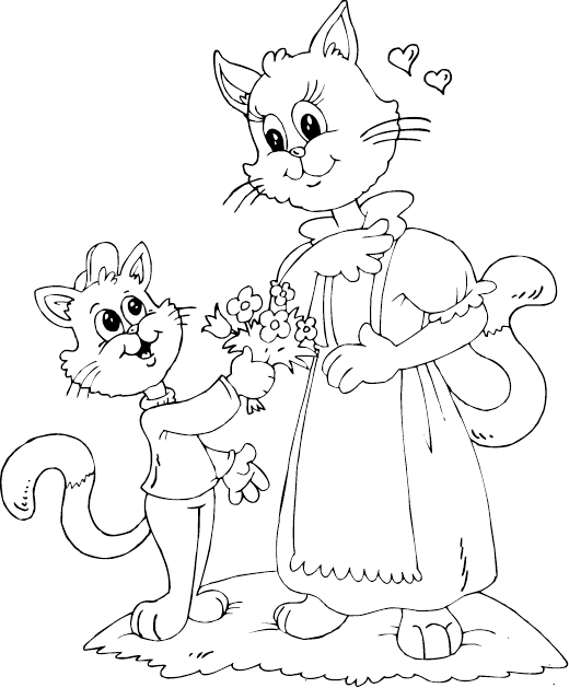 Cat Son And Mom Coloring Page Mom Coloring Pages Cool Coloring Pages Coloring Pages