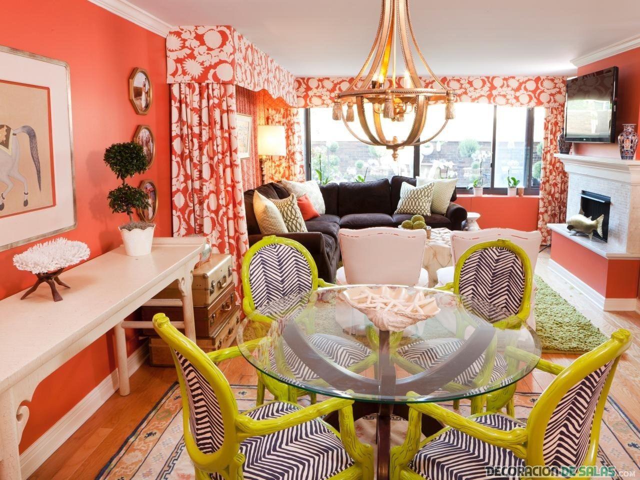 paredes de salón en color coral | decoración | Pinterest | Coral ...