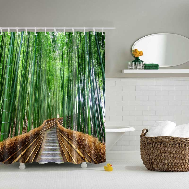 Green Tropical Plants Shower Curtains Rk Shower Curtain Sets