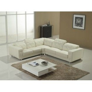 Quilted White Leather L Shaped Sofa With Adjustable Headrests Modern Sofa Sectional Corner Sectional Sofa Modern Leather Sectional Sofas