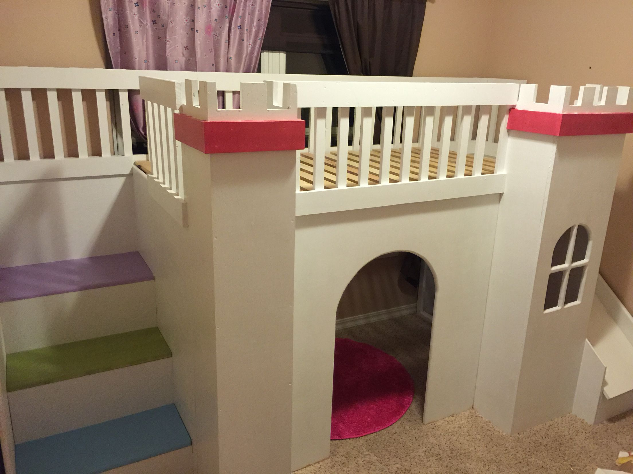 Husband Built This Awesome Princess Castle Twin Loft Bed With