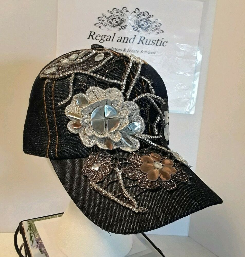 986a1cc7 Sparkle & Patch art Ball Cap /New Hat w Tags / Denim & Rhinestone ...