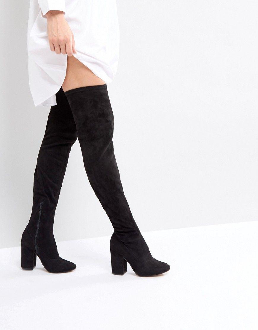 2155e4aa7d08 ASOS KATCHER WIDE LEG Heeled Over The Knee Boots - Black