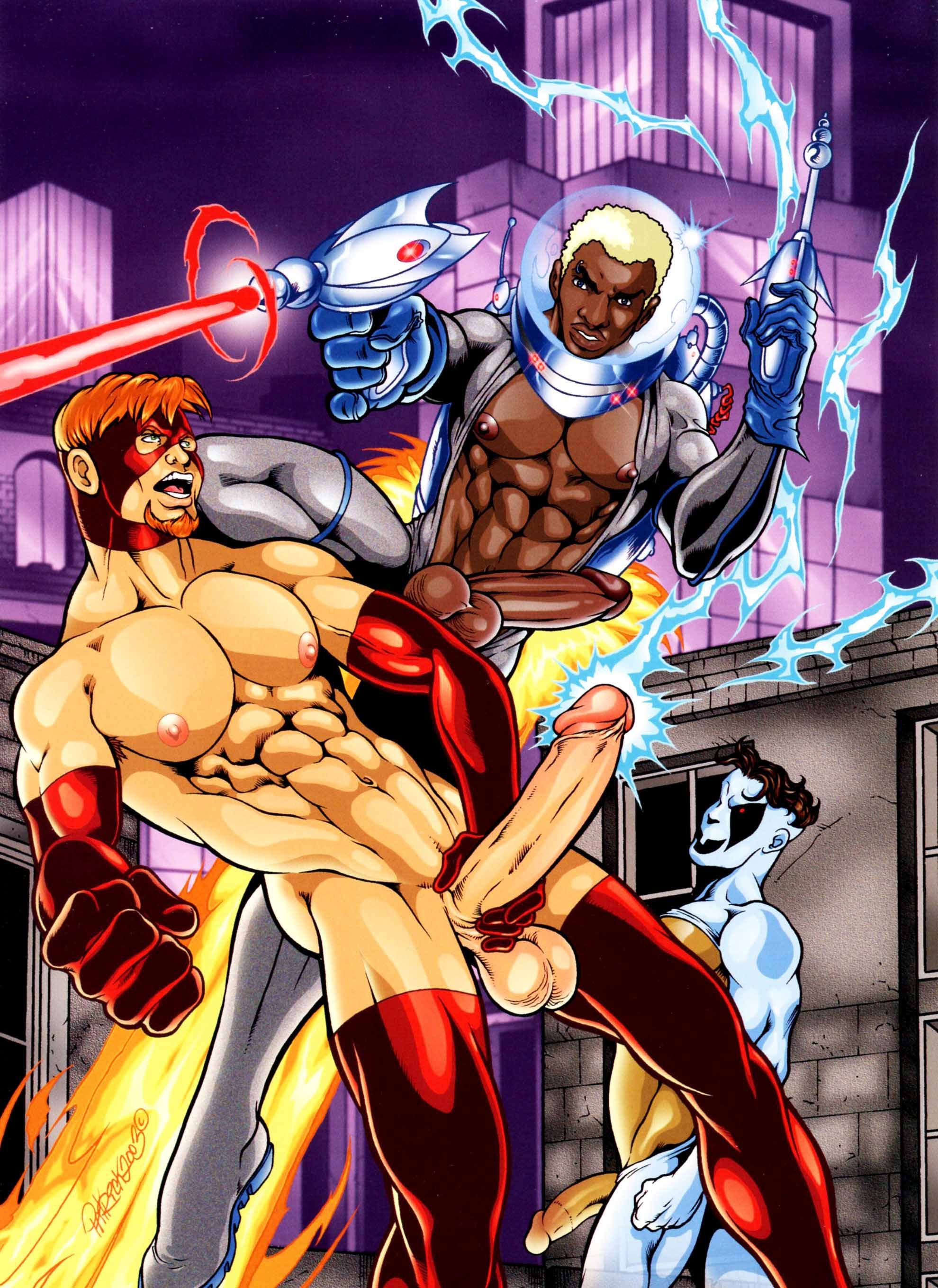 Dressing a super hero gay art male art nude photo print by