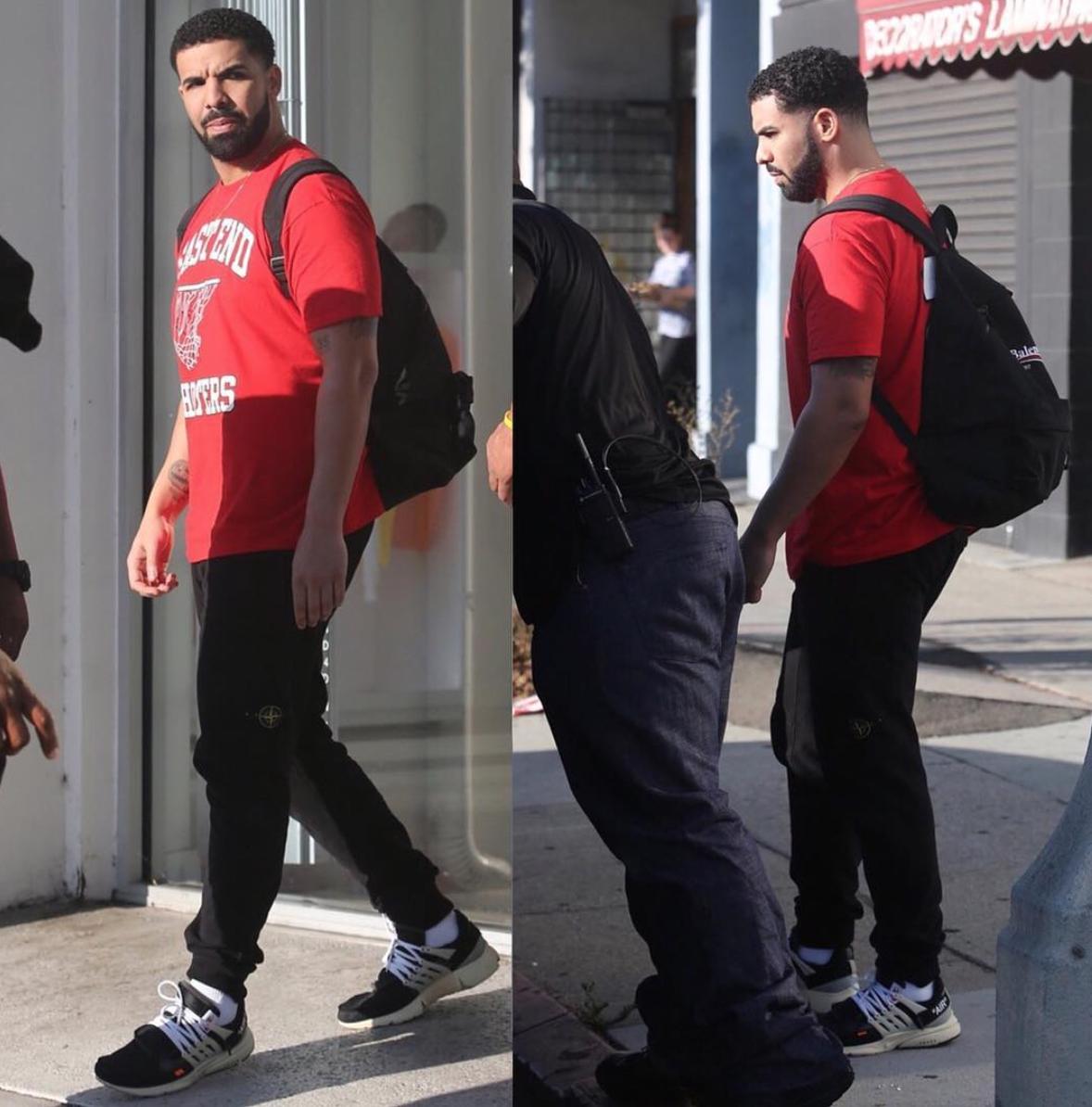 Drake in the NIKE 10 Air Presto 'Off