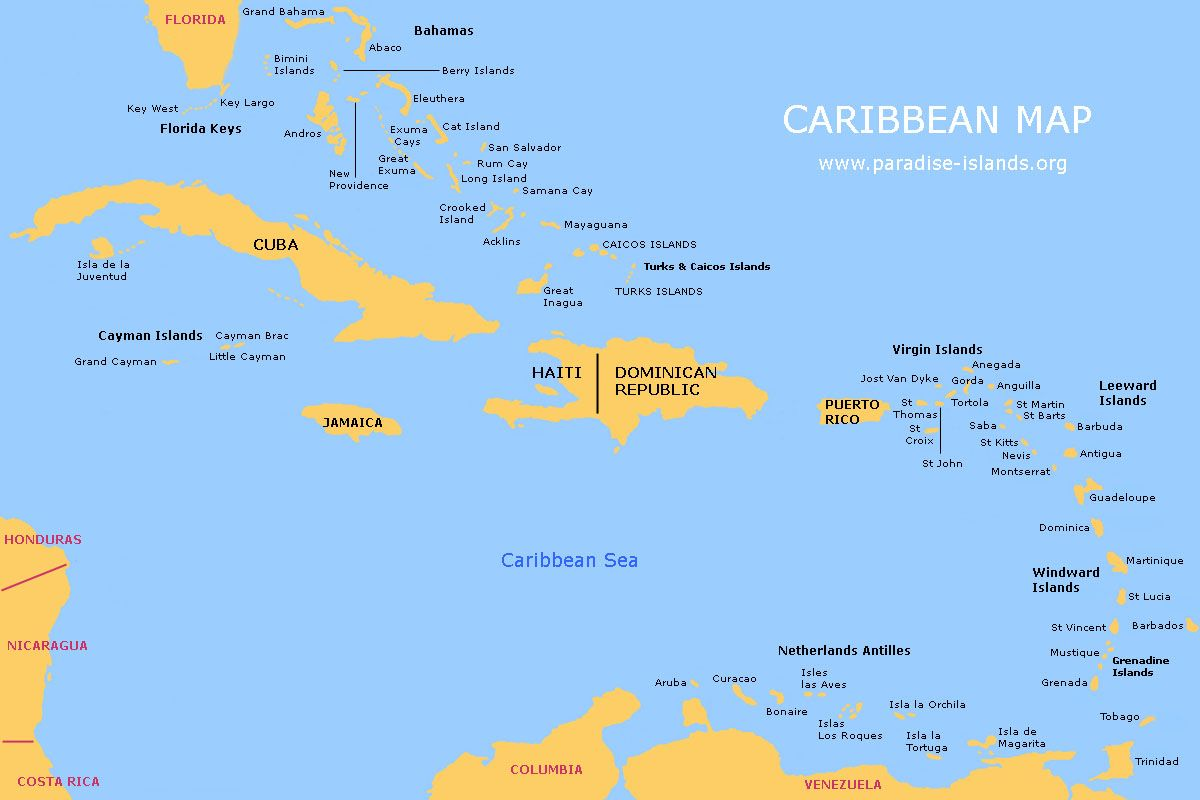 Large Map of the Caribbean | Click on the thumbnail map below to see ...