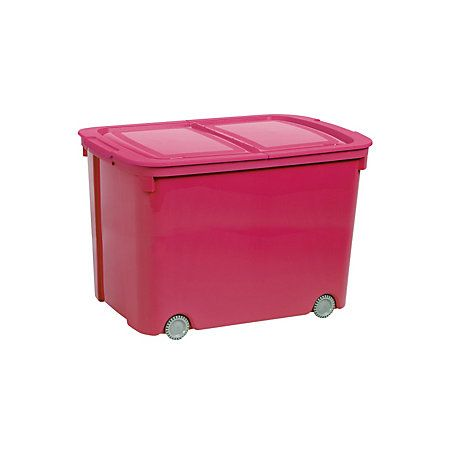 Curver Bee Tidy Pink 70L Plastic Storage Box On Wheels
