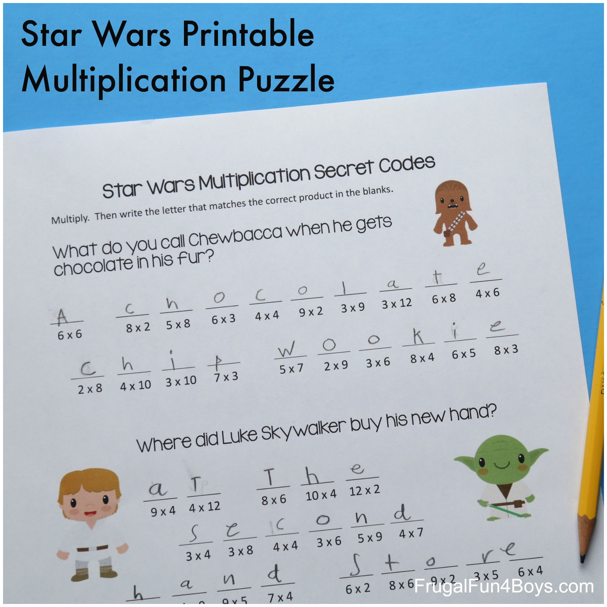 Star Wars Multiplication Practice Puzzle For Little Jedis
