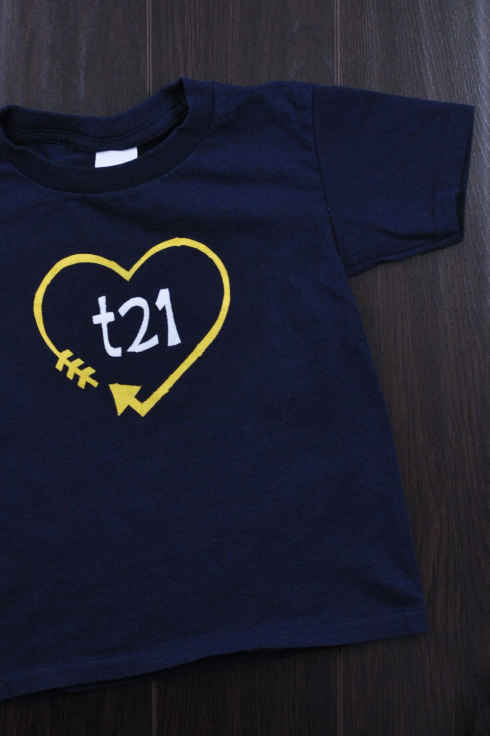 e22acedafb711 Down Syndrome Awareness Shirts ~ Girls and Boys, Navy Blue T-shirt with  Yellow and White