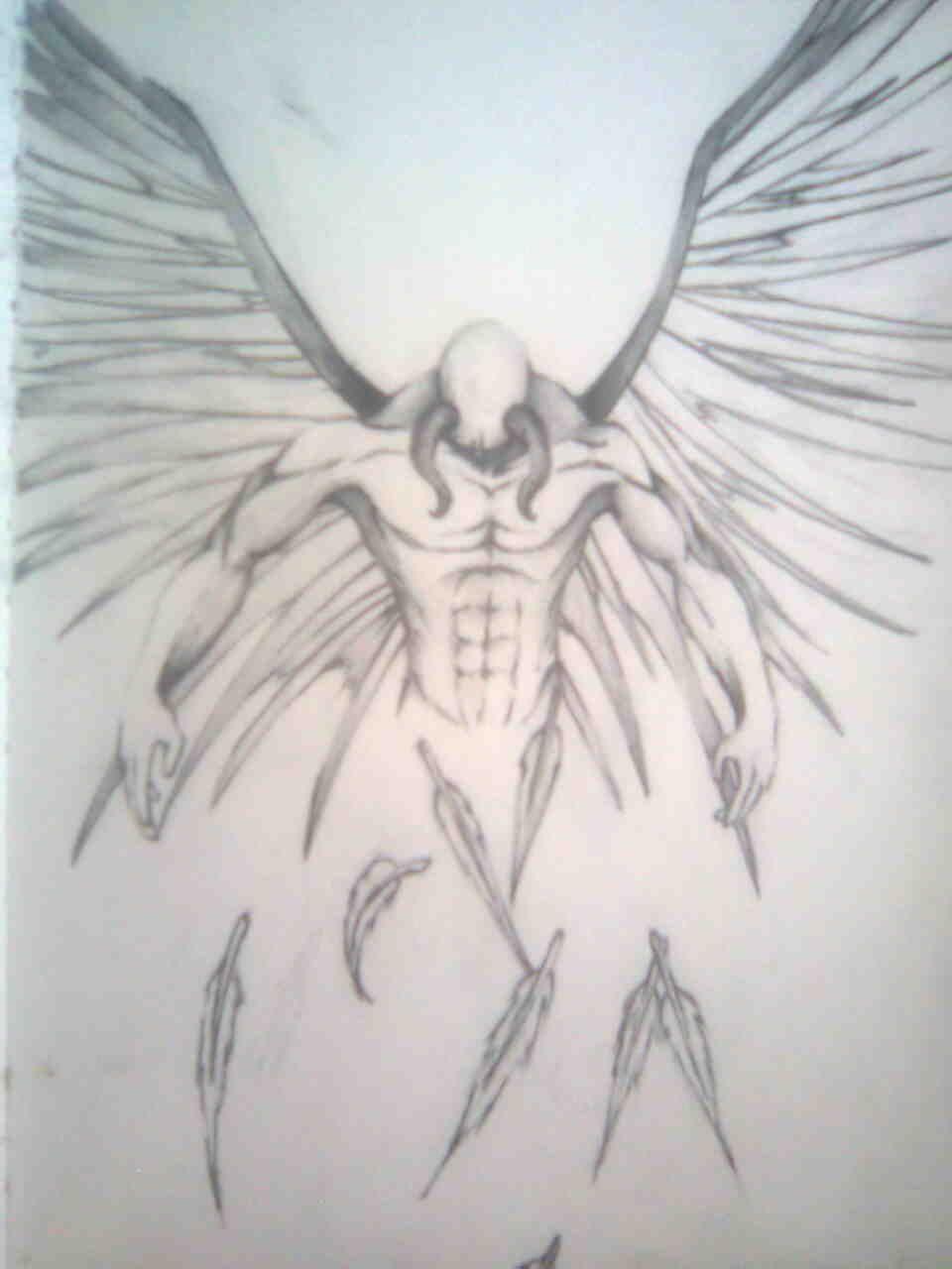 Fallen Angel Tattoo Drawing Design Idea