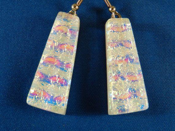 dichroic white fused glass earrings