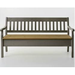Photo of Boston bench with armrests made of solid wood, 130.9x93x46 cm, gray, seat leached oiled