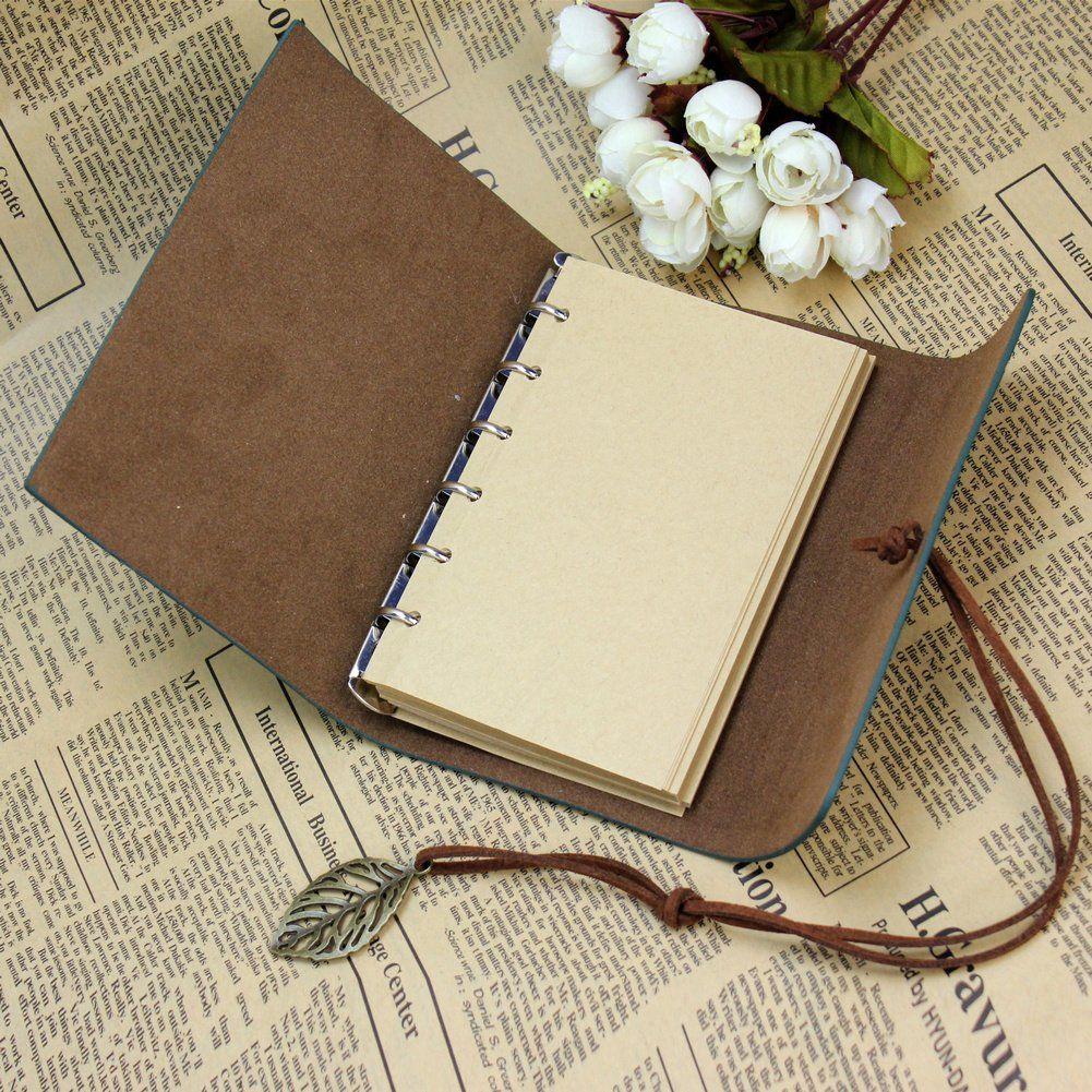 vintage kladde tagebuch notizbuch notebook skizzenbuch pu lederbuch lose blatt. Black Bedroom Furniture Sets. Home Design Ideas