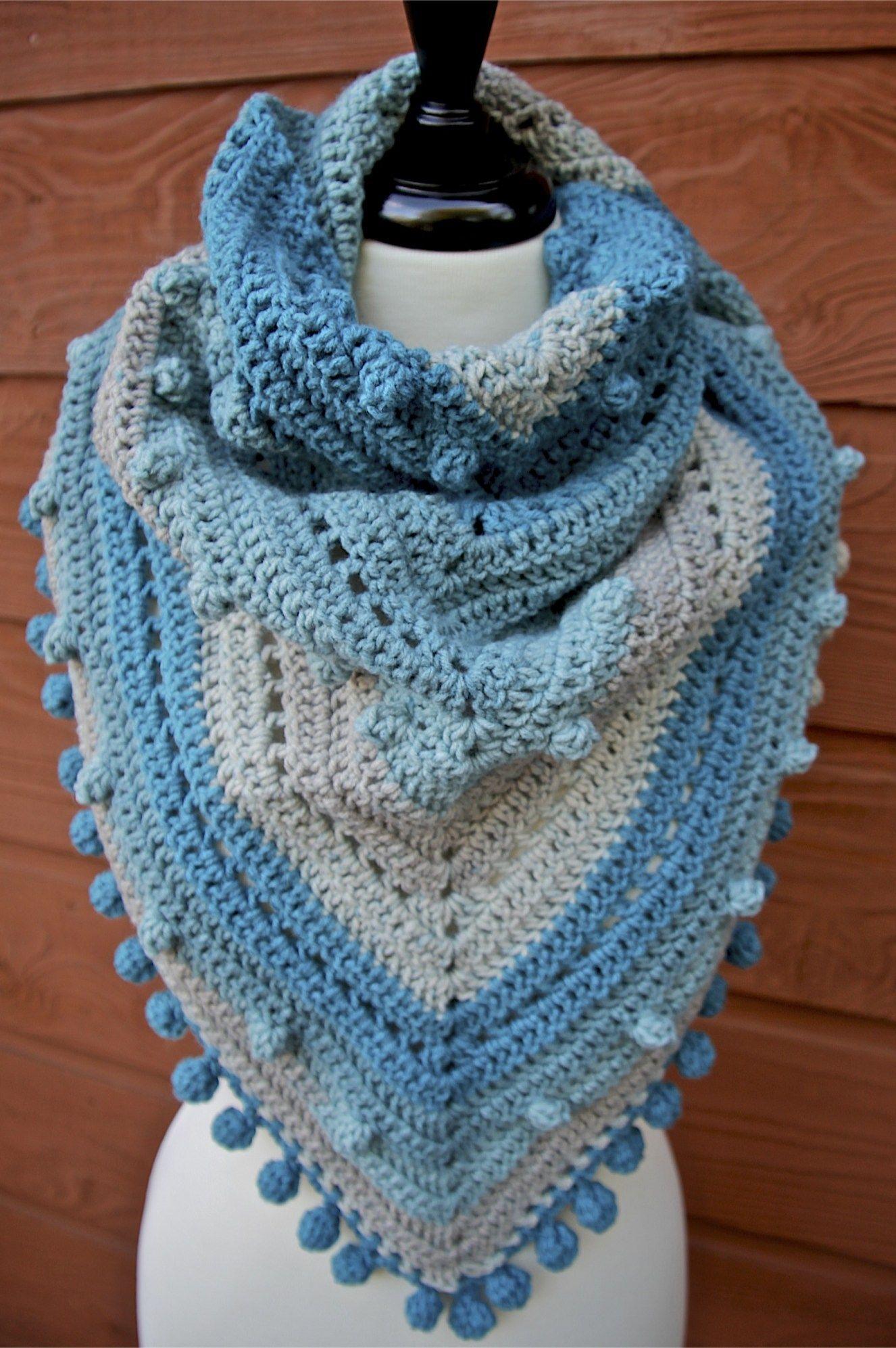 Misty Morning Triangle Scarf Shawlette Crochet Pattern ...