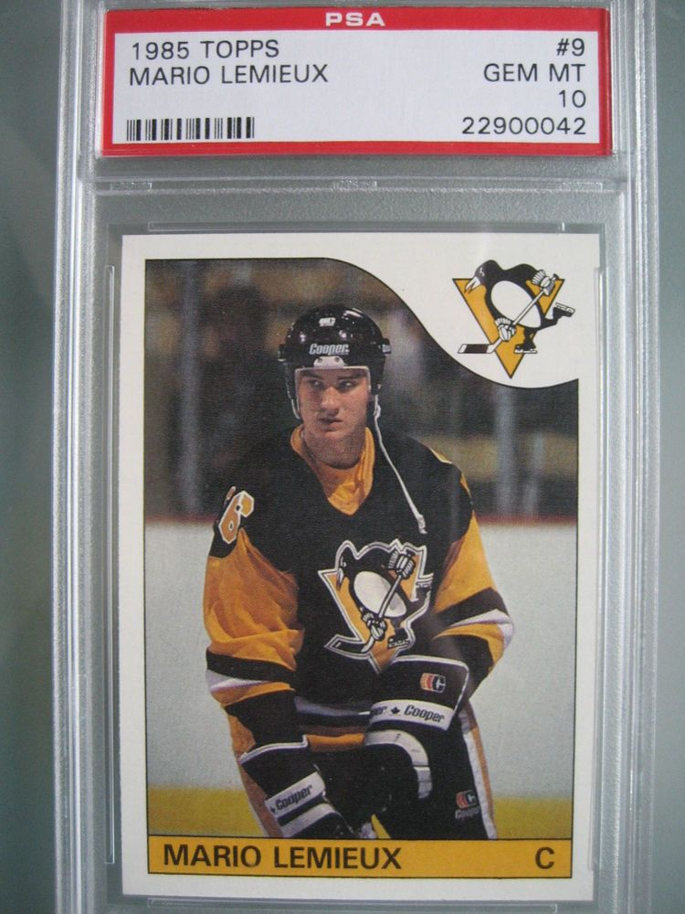 1985 topps hockey 9 mario lemieux rookie rc card psa 10
