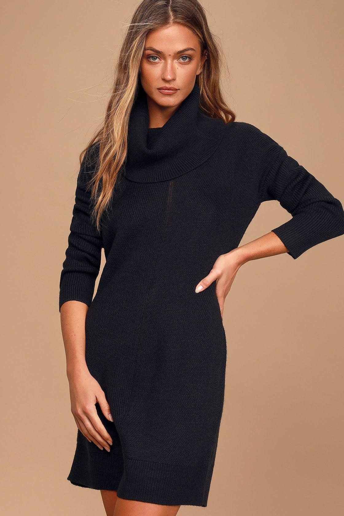 Tea Reader Black Sweater Dress [ 1680 x 1120 Pixel ]