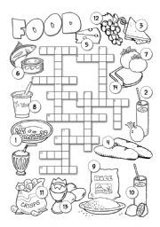 food worksheets crossword vocabulary english crosswords worksheet esl exercises rkc si teaching today level practicing ingles interactive elementary revise going
