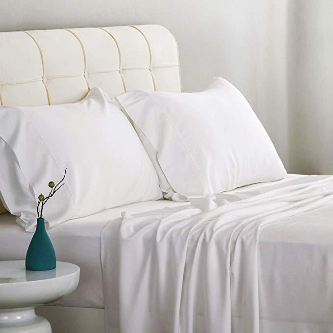 Amazon Com Bedsure Bamboo Bed Sheet Set Queen Size Grey 100