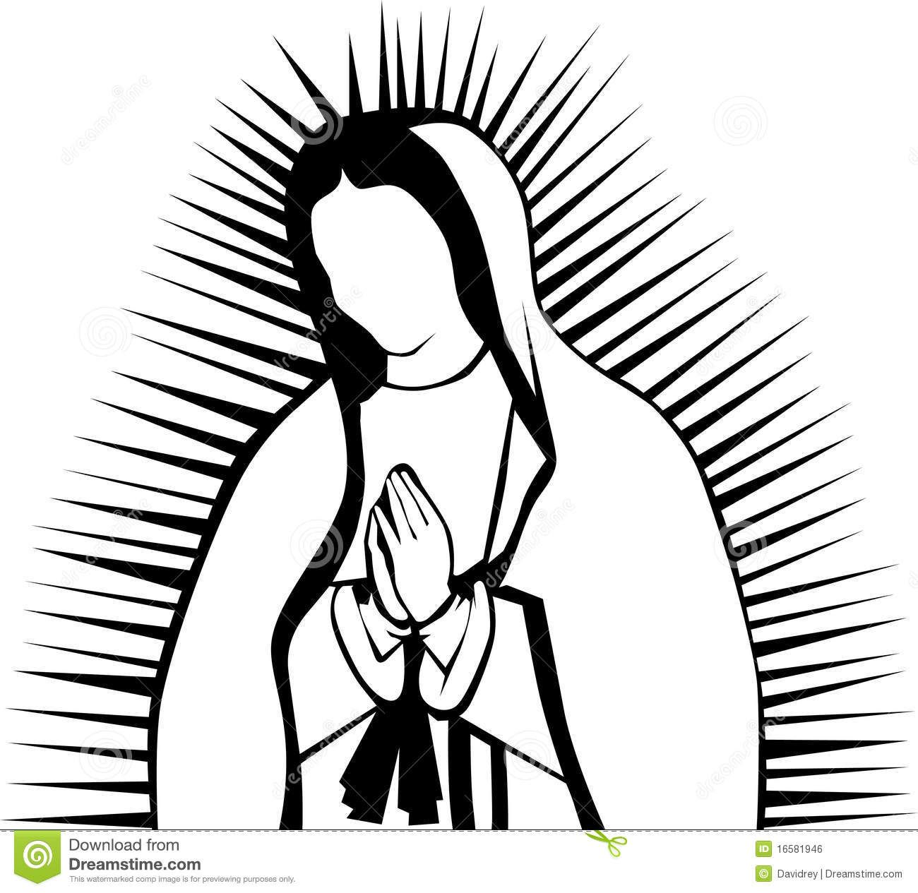 our lady of guadalupe clip art images   Black and white clipart ...
