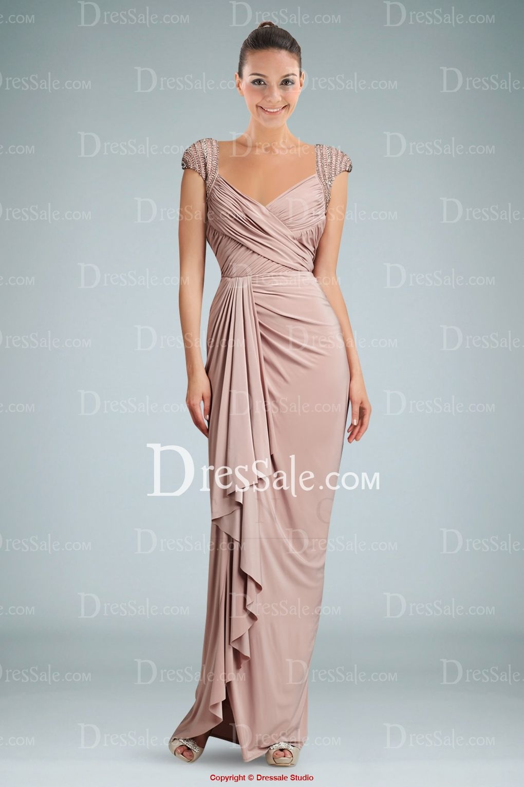 Classic Side-draped V-neckline Evening Gown with Ruches and Cap ...