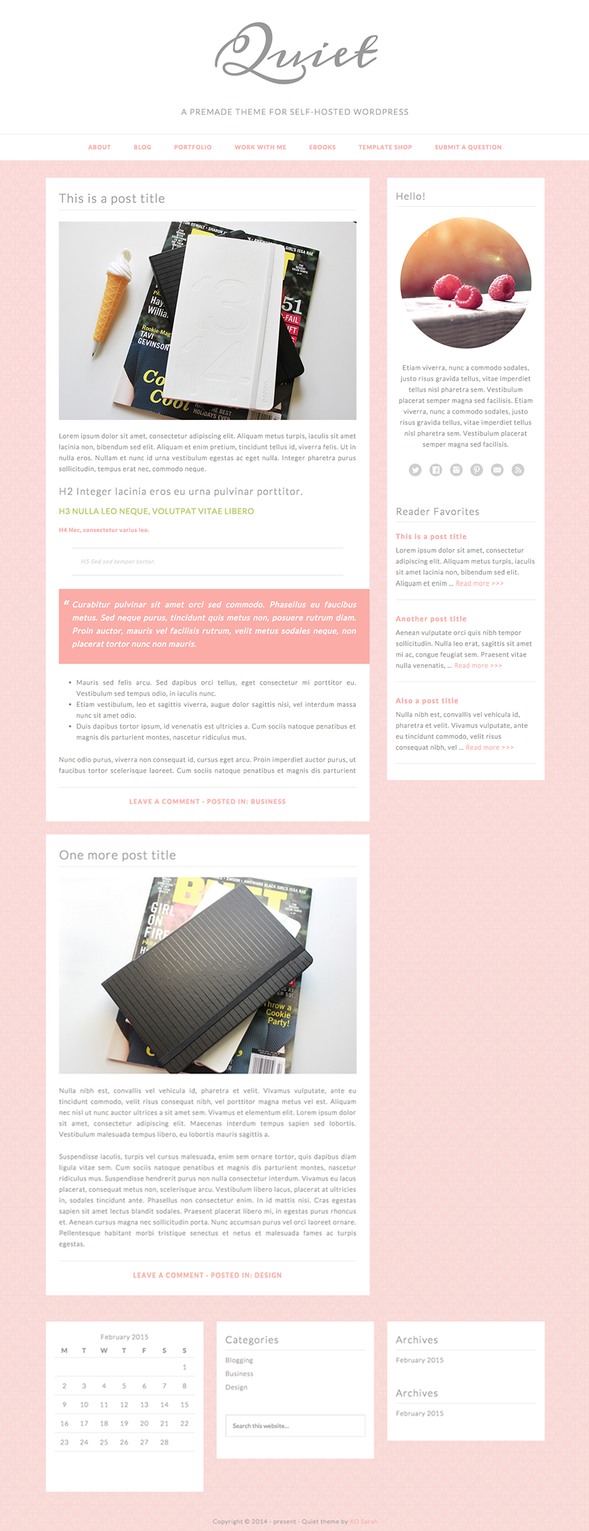 Pretty minimalist #wordpress blog theme from XOSarah.com | graphic ...