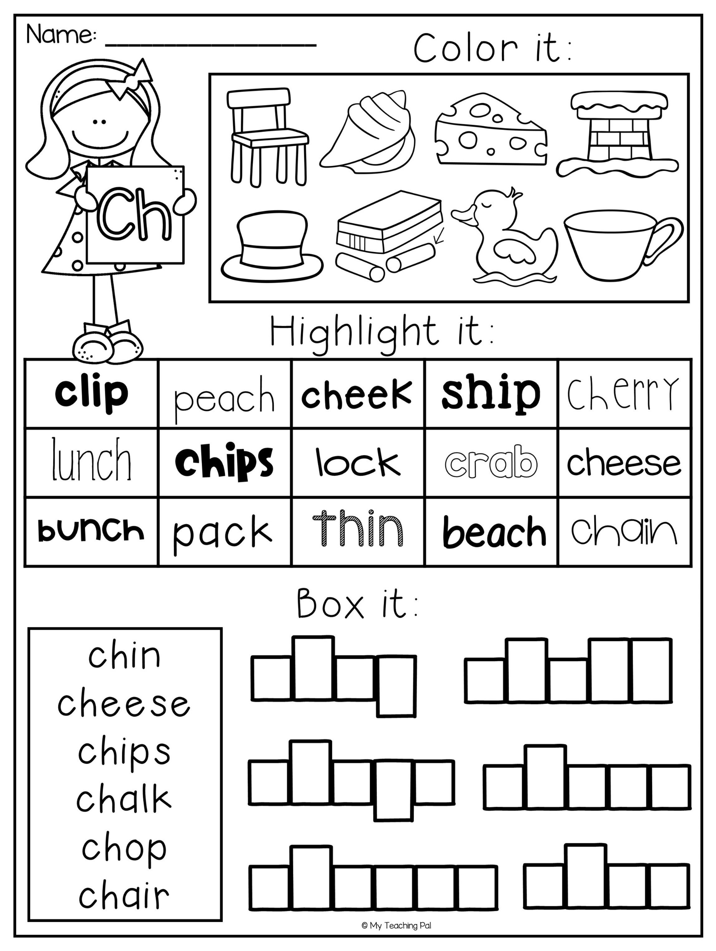 Digraph Worksheet Packet - Ch, Sh, Th, Wh, Ph (With images ...