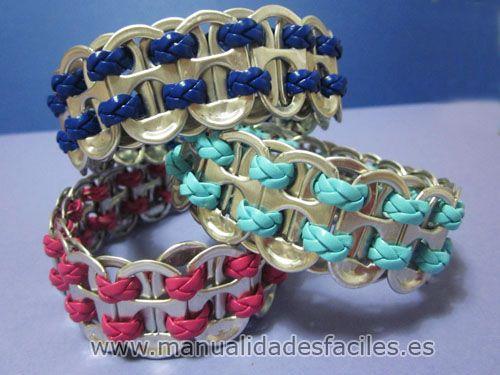 Pulsera hecha con anillas de lata joyas anillas de latas - Manualidades faciles con latas ...