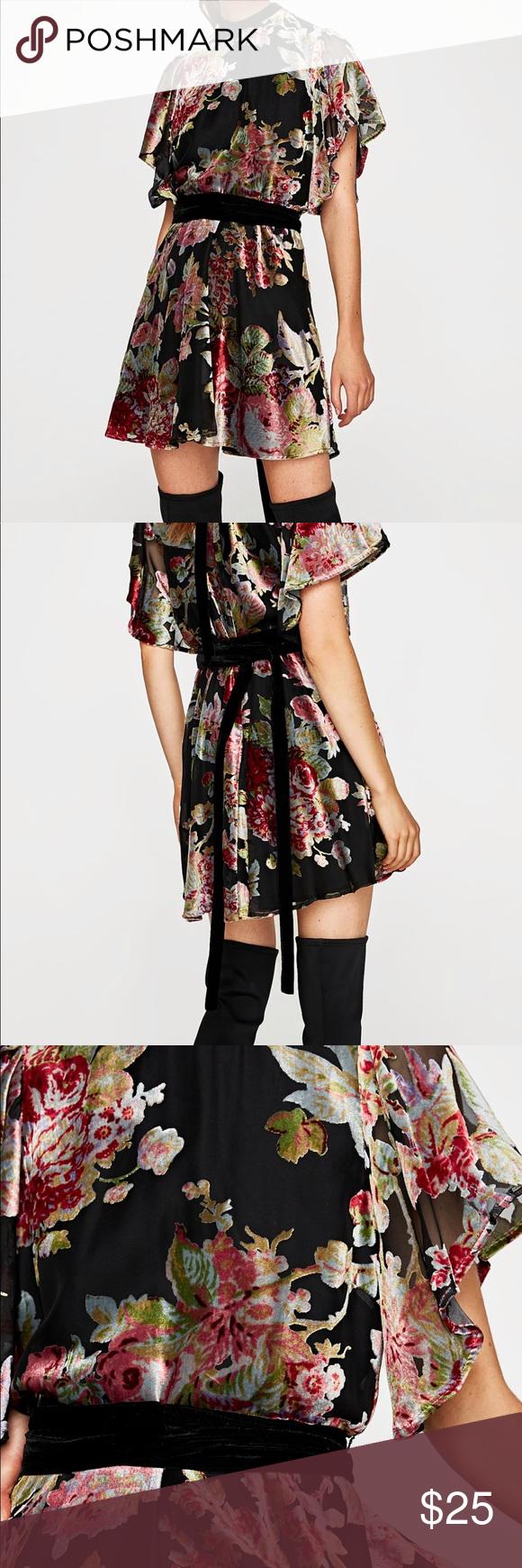 Zara velvet mini dress Cute mini dress with round neckline ...