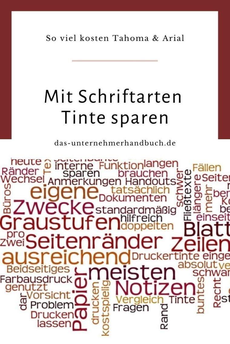 Mit Schriftarten Tinte Sparen So Viel Kosten Tahoma Arial Unternehmen Tinte Schriftarten Druckertinte