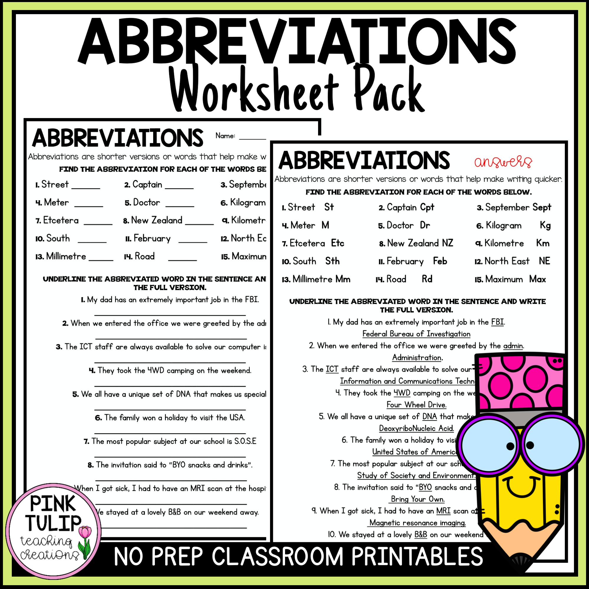 One Worksheets To Help Students Understand Abbreviations