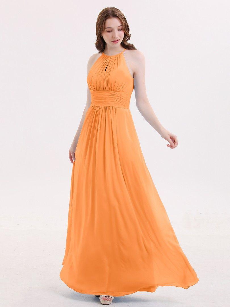 d943f270670 Babaroni Irene Halter Long Chiffon Dress with Pleated Waist