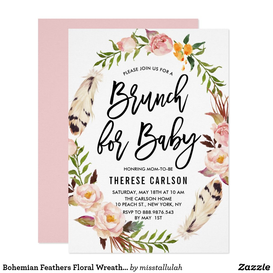 Bohemian Feathers Floral Wreath Baby Shower Brunch Card | Baby ...